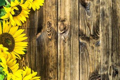 Sticker Tournesols sur fond de bois rustique. Fleurs, Arrière-plans, copie-space