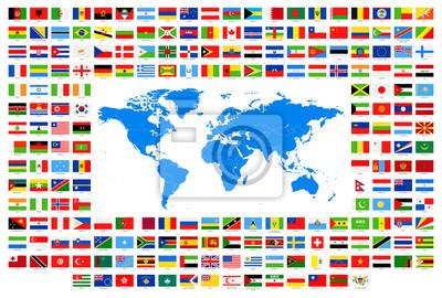 Sticker Tous Les Drapeaux Et La Carte Du Monde Bleu Simple Vecteur