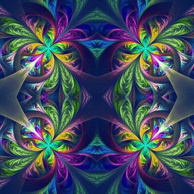 Sticker Tracerie fractal symétrique multicolore. Collection - patt givré
