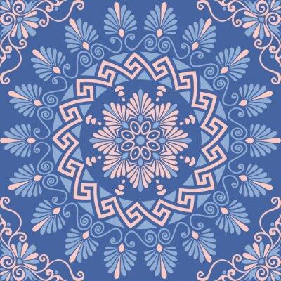 Sticker Traditionnel, seamless, vendange, rose, blanc, bleu, rond, floral, grec, Ornement