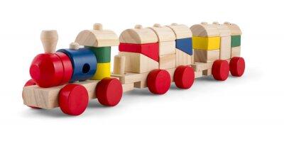 Sticker Train jouet en bois avec des blocs colorés isolé sur blanc