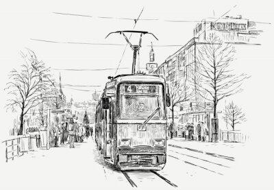 Sticker tramway in a big city