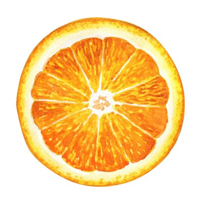 Sticker Tranche, frais, orange, isolé, blanc, fond