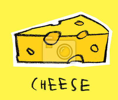 Tranche, fromage, jaune, fond