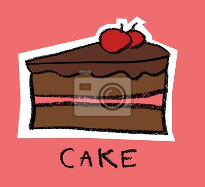 Tranche, gâteau, cerises