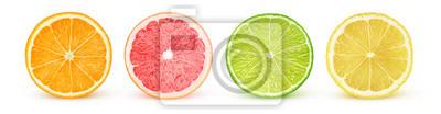 Sticker Tranches d'agrumes isolés. Fruits frais coupés en deux (orange, pamplemousse rose, citron vert, citron) d'affilée isolé sur fond blanc avec un tracé de détourage