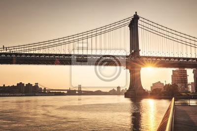 Tranquille, Coucher soleil, derrière, Brooklyn, pont