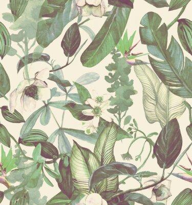 Sticker Transparente motif aquarelle avec fleurs tropicales, magnolia, fleur d'oranger, vanille, orchidée vanille, feuilles tropicales, feuilles de bananier