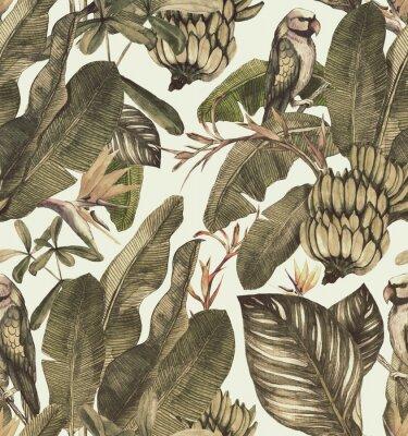 Sticker Transparente motif aquarelle avec hibiscus, feuilles de palmier, branche de strelitzia, calathea. Fond vintage tropique