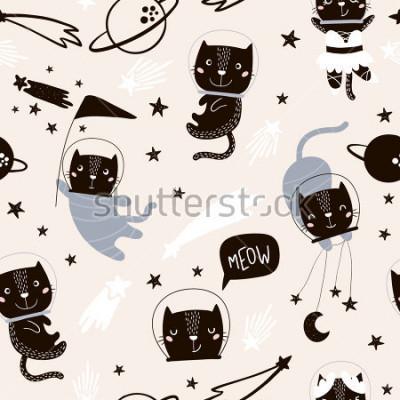 Sticker Transparente motif enfantin avec les astronautes de chats mignons. Fond de pépinière créative. Parfait pour la conception, le tissu, l'emballage, le papier peint, le textile, l'habillement des