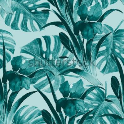Sticker Transparente motif tropical avec des fleurs d'iris et des feuilles exotiques. Aquarelle. Peinture à la main.