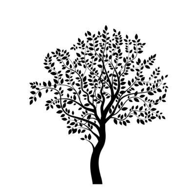 Sticker Tree silhouette noire isolé sur blanc