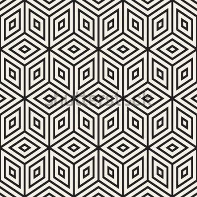 Sticker Treillis linéaires monochromes à la mode. Conception de fond géométrique abstraite. Motif noir et blanc sans couture de vecteur.