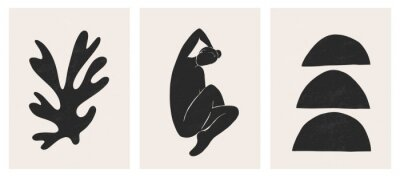 Sticker Trendy contemporary abstract matisse geometric woman composition