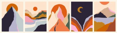 Sticker Trendy minimalist abstract landscape illustrations. Set of hand drawn contemporary artistic posters.