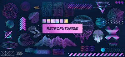 Sticker Trendy retrofuturistic holographic collection in vaporwave style in 80s-90s. Old wave cyberpunk concept. Shapes design elements for disco genre, retro party or themed event. Neon shapes with glitch