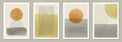 Sticker Trendy set of abstract creative minimal artistic hand painted compositions