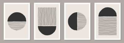 Sticker Trendy set of abstract creative minimalist artistic hand painted compositions