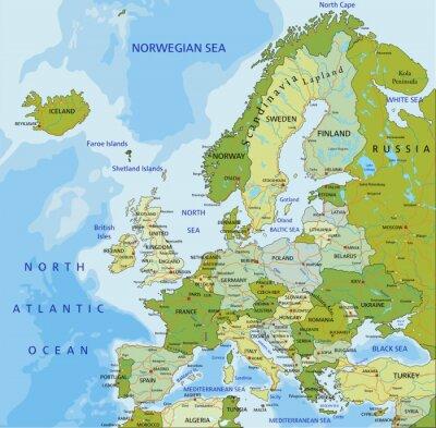 Sticker Très détaillé modifiable carte politique. Europe.