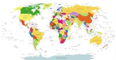 Sticker Très détaillé, politique, monde, carte, isolé, blanc