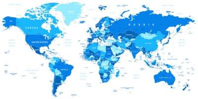 Sticker Très détaillée vecteur illustration de map.Borders du monde, les pays et les villes.