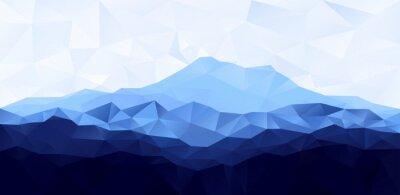 Sticker Triangle, bas, poly, polygone, géométrique, fond, bleu, montagne