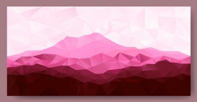 Sticker Triangle, bas, poly, polygone, géométrique, fond, rose, montagne