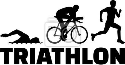 Triathlon, silhouettes, mot