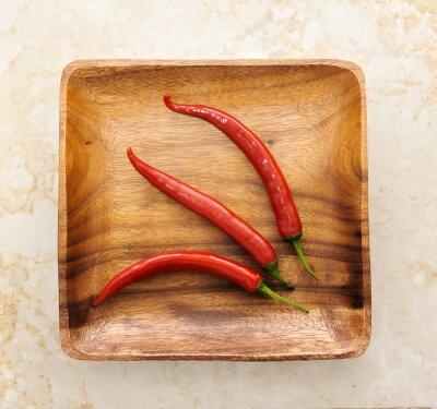 Sticker Trois, mignon, rouges, chaud, piment, poivre, bois, fond