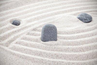 Sticker Trois, pierres, sable, zen, concept