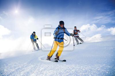 Sticker Trois skieurs