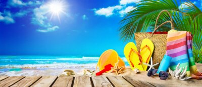 Sticker Tropical beach with sunbathing accessories, summer holiday background