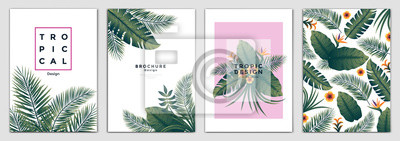 Sticker Tropical Brochure Design Layout Template in A4 size, greeting cards. Frame with tropic leaves. Ideal for party poster, greeting card, banner or invitation. Vector Illustration