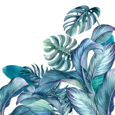 Sticker Tropical leaves background