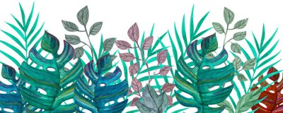 Sticker Tropical leaves. Watercolor drawing. Green color.
