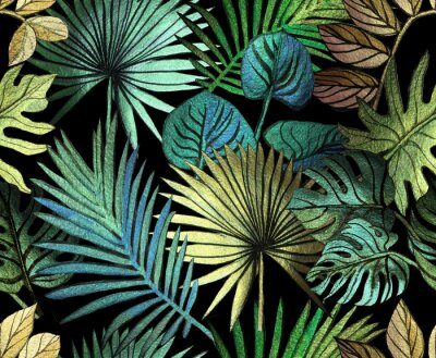 Sticker Tropical pattern painted with shiny paints.  rose gold tropical leafs