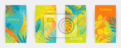 Sticker Tropical themed banners set. Creative compositions of colorful palm leaves and branches. Abstract geometric design templates for posters, covers, wallpapers with place for text. Flat style vector