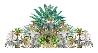 Sticker Tropical vintage botanical island. Watercolor border with safari animals and palm trees. Exotic jungle wallpaper.