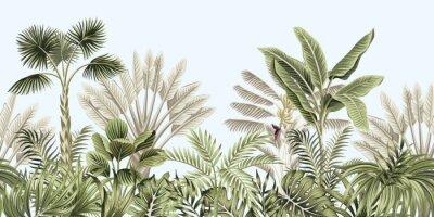 Sticker  Tropical vintage botanical landscape, palm tree, banana tree, plant floral seamless border blue background. Exotic green jungle wallpaper.