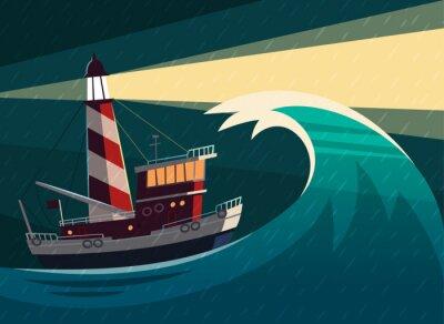 Sticker Tugboat pendant la tempête avec le phare sur elle. Vector illustration.