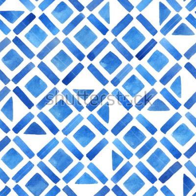 Sticker Tuile géométrique aquarelle abstraite. Modèle sans couture en bleu