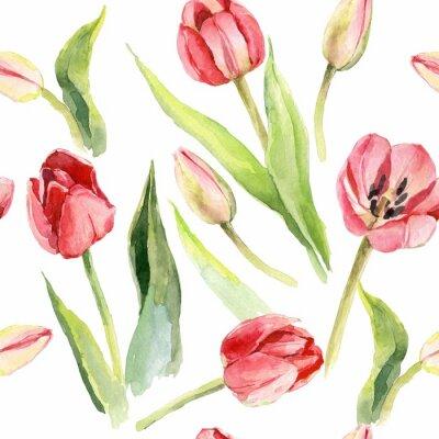 Sticker tulipes fleur aquarelle modèle illustration textile print