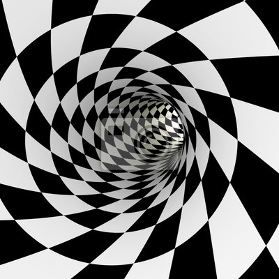 Tunnel à damier, 3D
