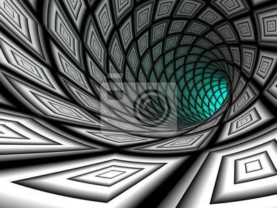 Tunnel à damiers, 3D