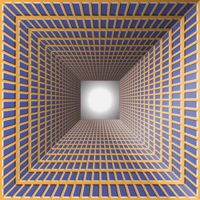 Sticker Tunnel avec murs à damier. Résumé fond avec l'illusion d'optique du mouvement.