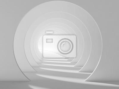 Tunnel blanc vide, intérieur abstrait 3d