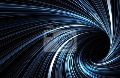 Tunnel bleu foncé avec des lignes de spirale rougeoyantes
