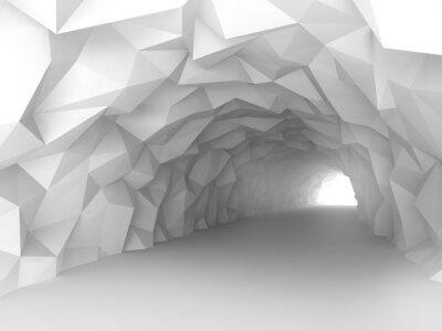 Tunnel intérieur avec relief polygonal chaotique des murs