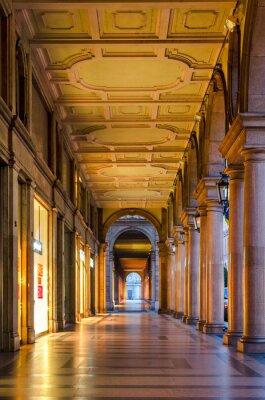Sticker Turin (Torino), arcades typiques dans le vieux centre historique