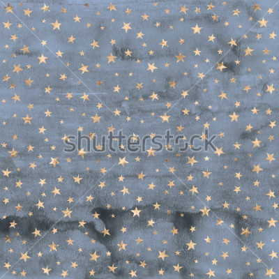 Sticker Twinkle star pattern in rose gold metallic foil overlaid on denim blue hand painted watercolor texture.